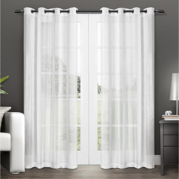 Penny 50 In W X 84 In L Sheer Grommet Top Curtain Panel In Winter White 2 Panels Eh8043 01 2 84g The Home Depot