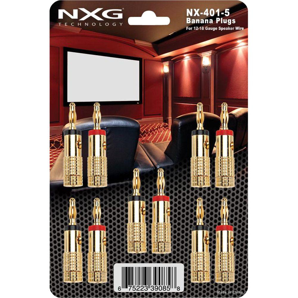 NXG 24k Gold-Plated Banana Plugs - 5 Pack-DISCONTINUED