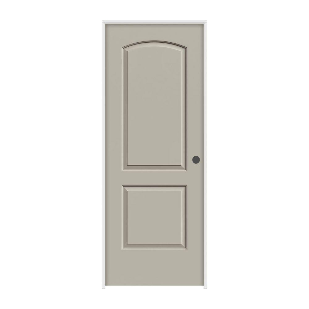 JELD-WEN 36 in. x 80 in. Continental Desert Sand Painted Left-Hand Smooth Molded Composite MDF Single Prehung Interior Door