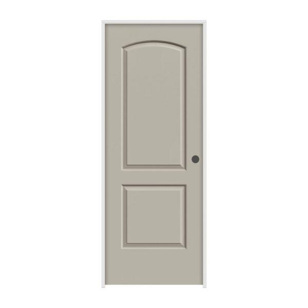 36 in. x 80 in. Continental Desert Sand Painted Left-Hand Smooth Molded Composite MDF Single Prehung Interior Door