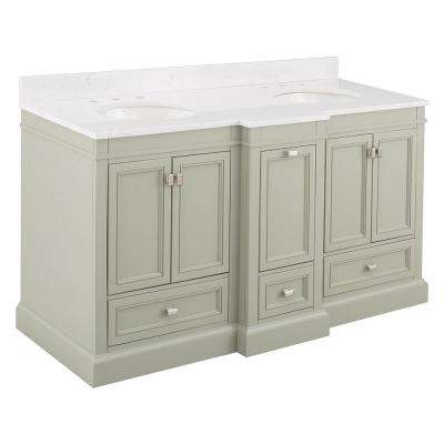 Braylee 61 in. W x 24 in. D Vanity Cabinet in Sage Green with Engineered Stone Vanity Top in White with White Sink