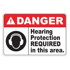 Rectangular Plastic Danger Hearing Protection Required Safety Sign by