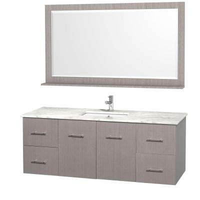 Centra 60 in. Vanity in Grey Oak with Marble Vanity Top in Carrara White and Under-Mount Sink