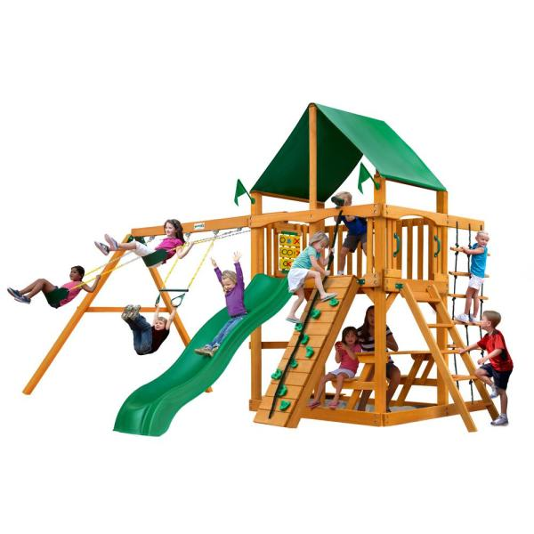 Chateau Wooden Swing Set with Green Vinyl Canopy and Picnic Table
