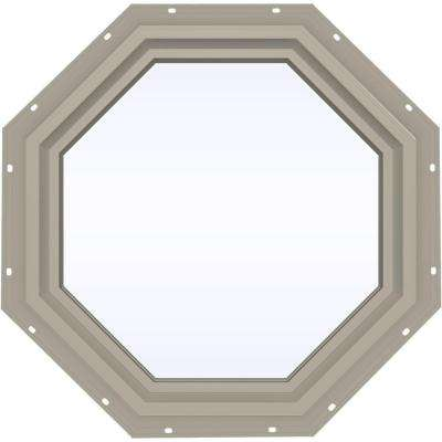 23.5 in. x 23.5 in. V-4500 Series Fixed Octagon Geometric Vinyl Window in Tan