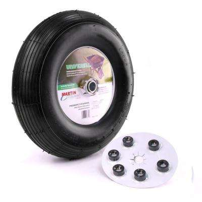 400-6 13 in. Wheelbarrow/Garden Cart Wheel with Universal Hub 5/8 in. Ball Bearing