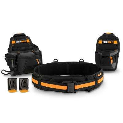 Handyman 16 in. 27-Pockets Tool Belt Set in Black (3-Piece)