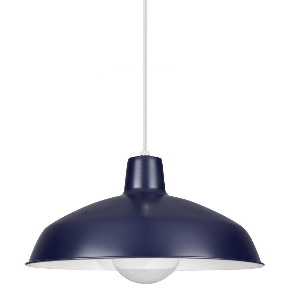 Sea Gull Lighting 1-Light Blue Painted Shade Pendant