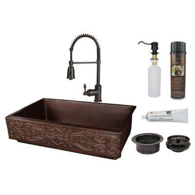 All-in-One Farmhouse/Apron-Front Copper 35 in. Single Bowl Retrofit Kitchen Scroll Sink with Spring Faucet