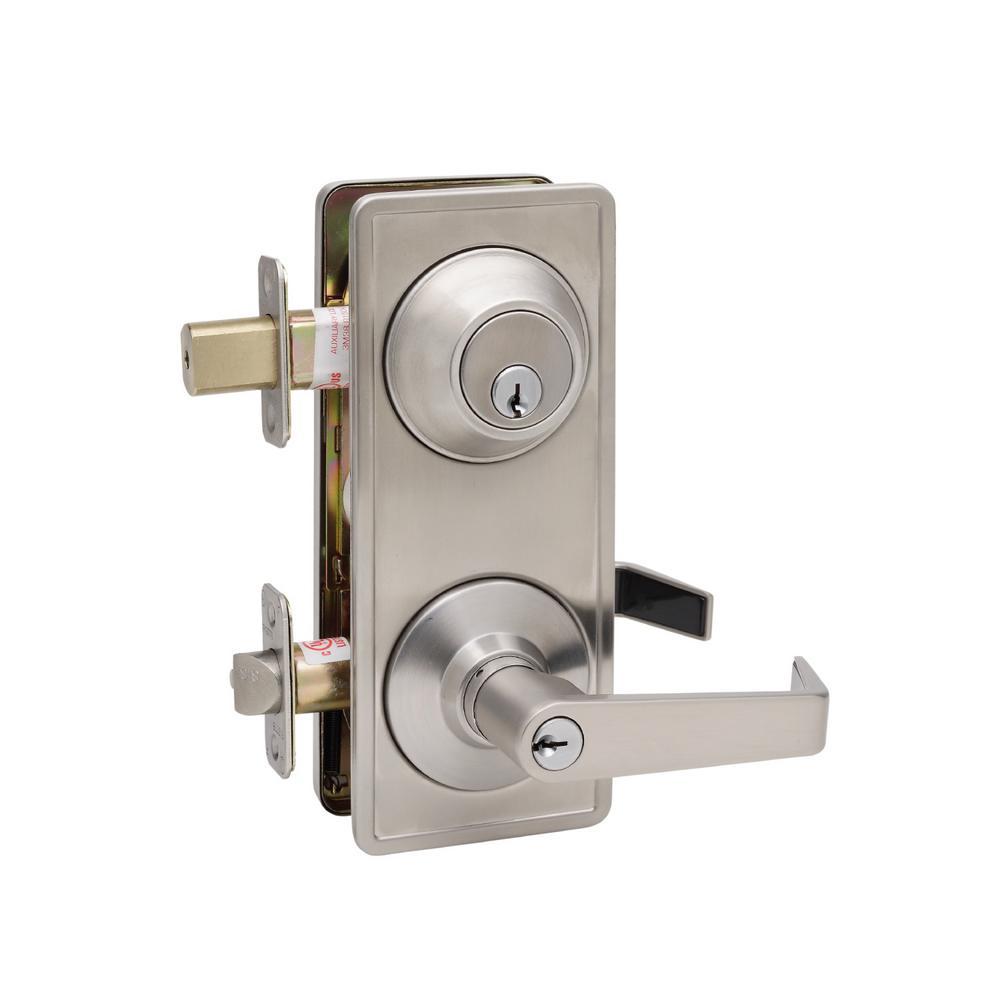 Satin Stainless Grade 2 Interconnect Entry Lever Door Handleset