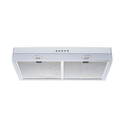 30 in. 250 CFM Under Cabinet Range Hood in White Color Steel with Aluminum Filters LED Lights and Push Button Control
