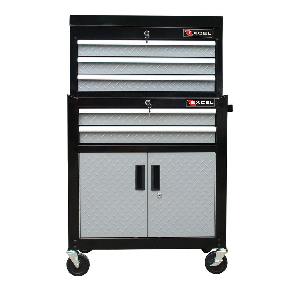 26 in. 5-Drawer Chest and Roller Combination, Black with Diamond Plate