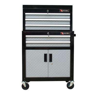 26 in. 5-Drawer Chest and Roller Combination, Black with Diamond Plate Drawer Fronts