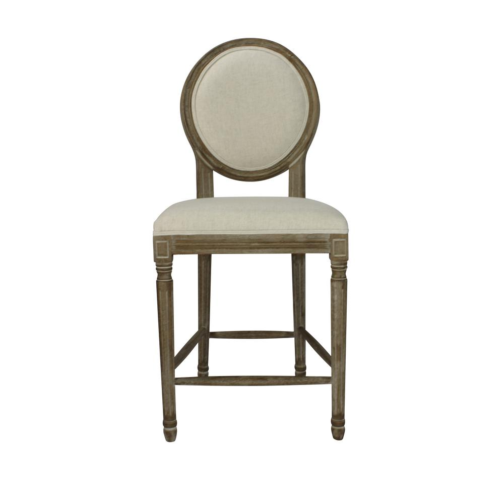 Louis 24 In Weathered Beige Upholstered Round Counter Chair Set Of
