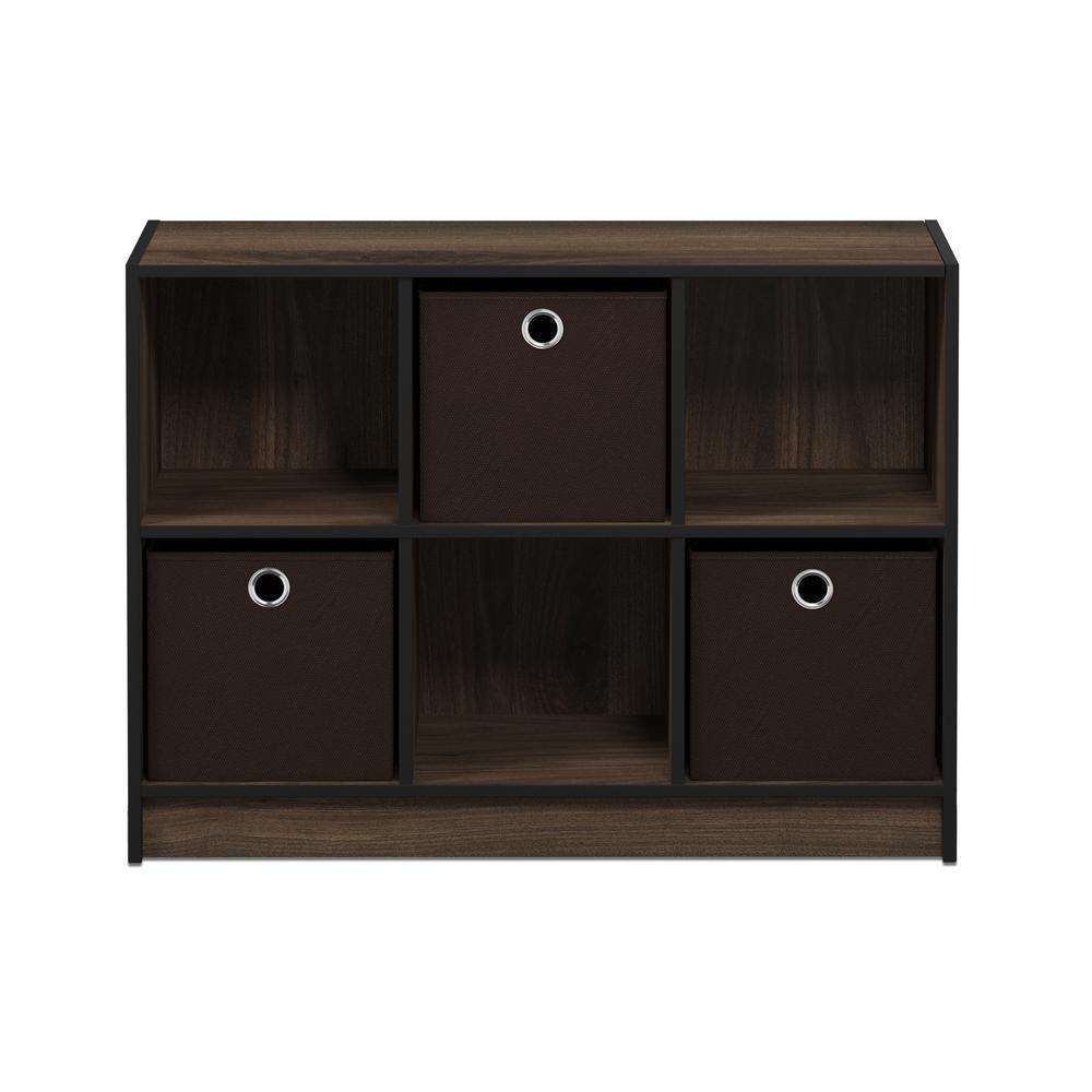 Furinno Basic Columbia Walnut/Dark Brown 6 Cube Bookcase With Storage Bins
