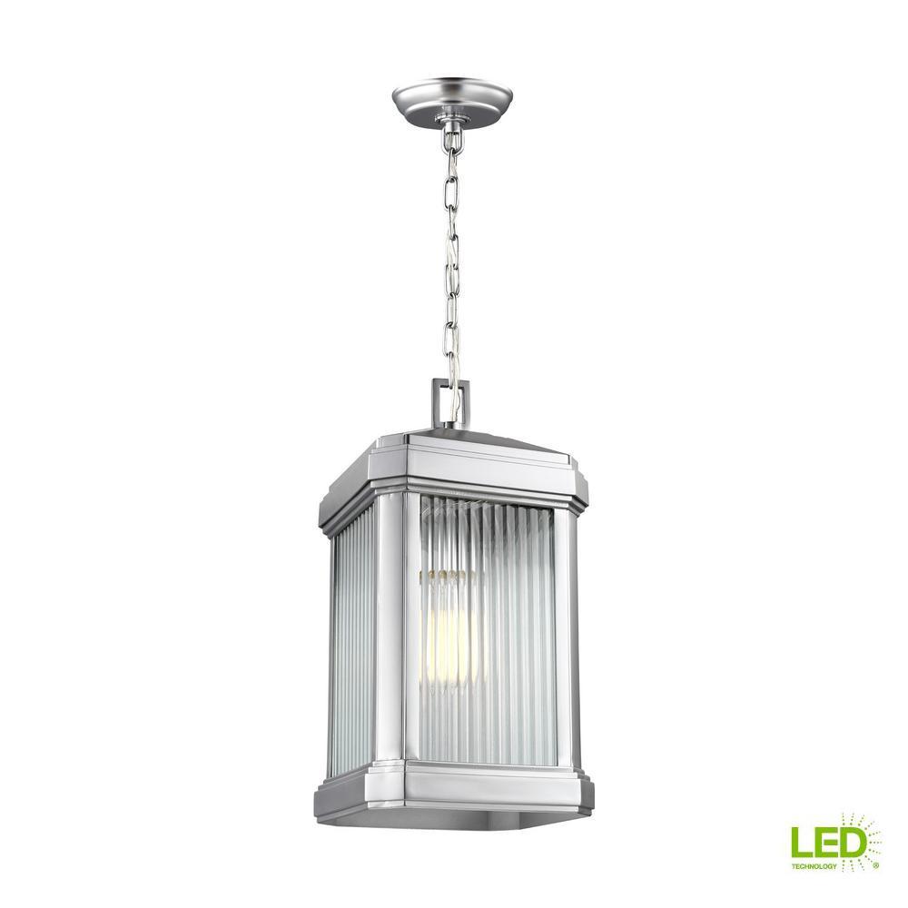 Gaelan Painted Brushed Nickel 1-Light Hanging Pendant with LED Bulb