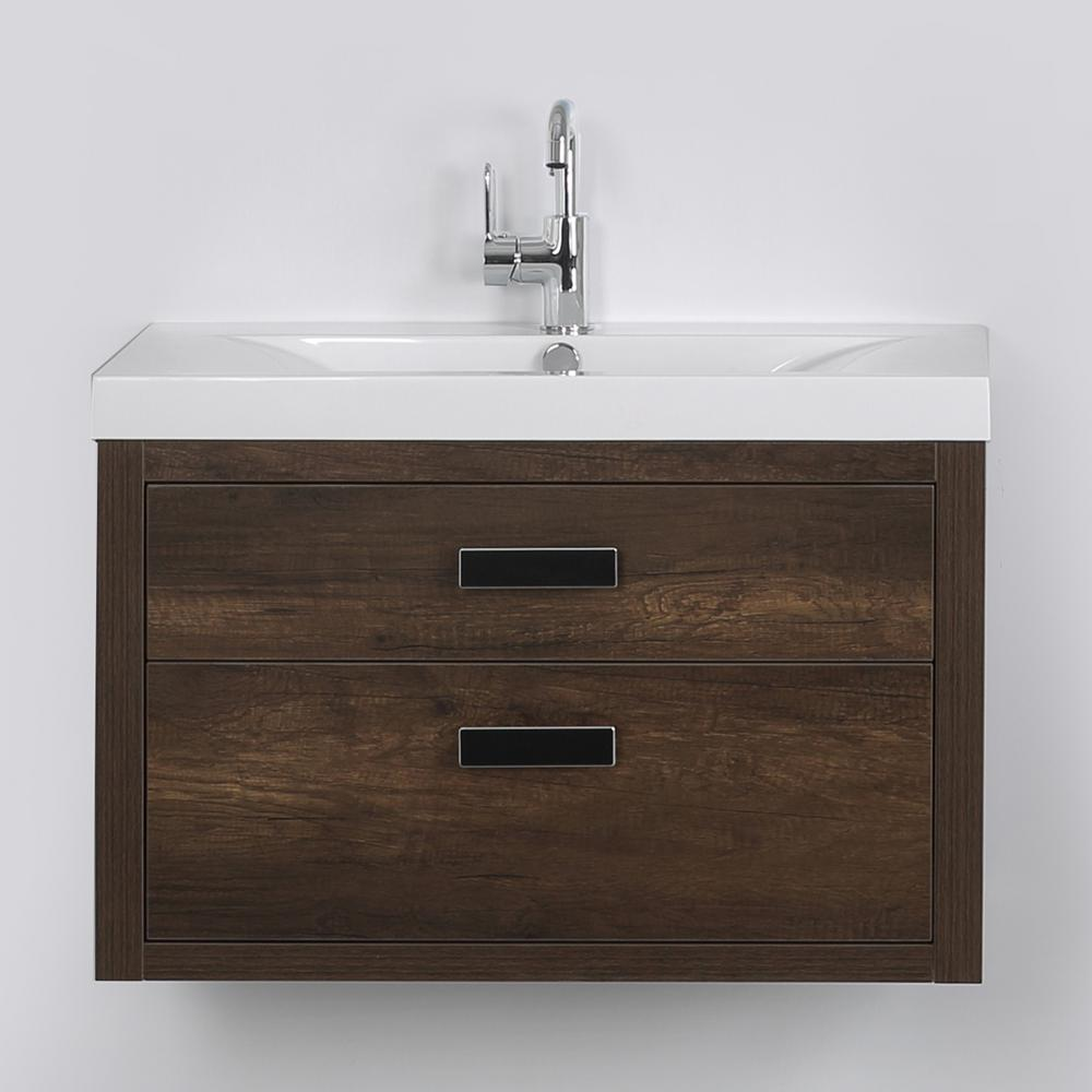 Streamline 31.5 in. W x 19.4 in. H Bath Vanity in Brown with Resin Vanity Top in White with White Basin