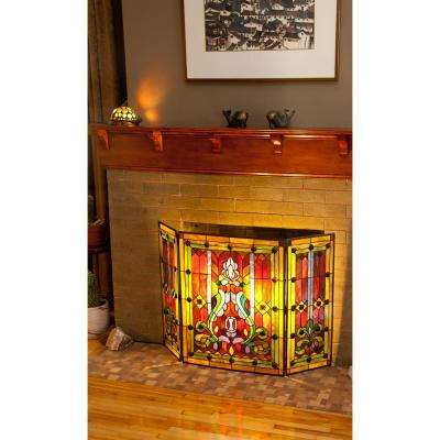 Stained Glass Fleur De Lis 3-Panel Decorative Fireplace Screen