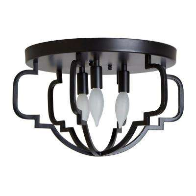 Paxton 11.75 in. 3-Light Black Semi-Flush Mount Light