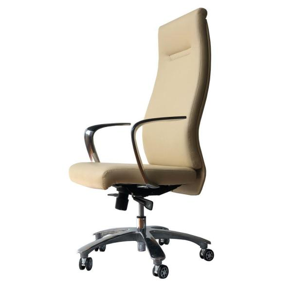 Beige and Chrome High Back Ergonomic Executive Leatherette Office Swivel Chair with Casters