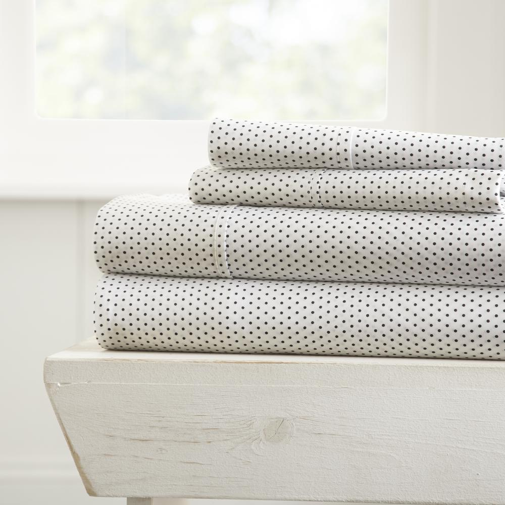4-Piece Stippled Patterned Gray Queen Performance Bed Sheet Set