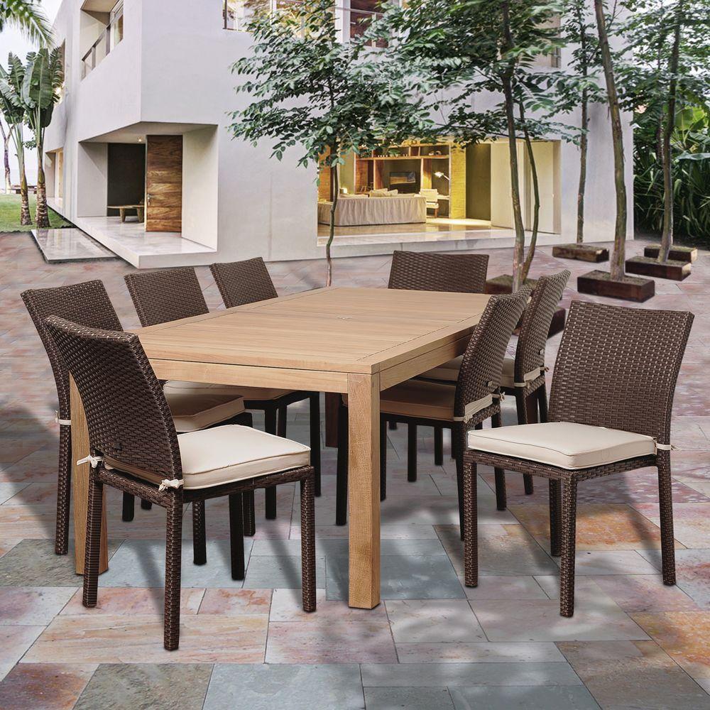 amazonia reeds 9 piece teak rectangular patio dining set with off white cushions sc rinrectbig. Black Bedroom Furniture Sets. Home Design Ideas