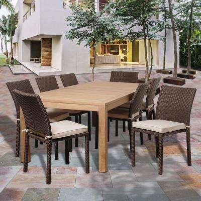 Reeds 9-Piece Teak Rectangular Patio Dining Set with Off-White Cushions
