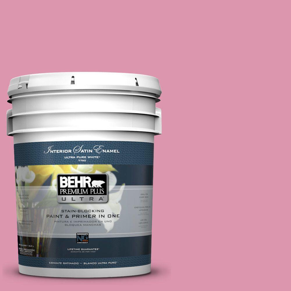 5 gal. #110B-4 Foxy Pink Satin Enamel Interior Paint and Primer