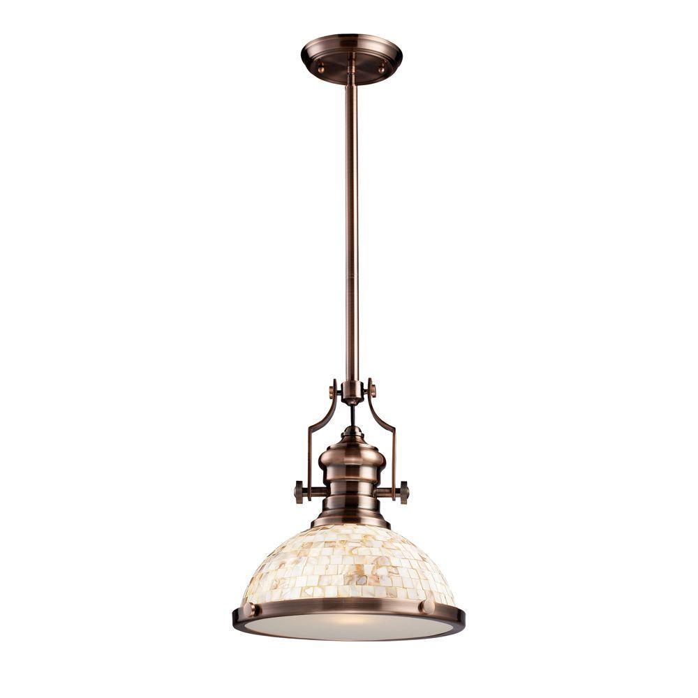 Chadwick 1-Light Antique Copper Ceiling Mount Pendant
