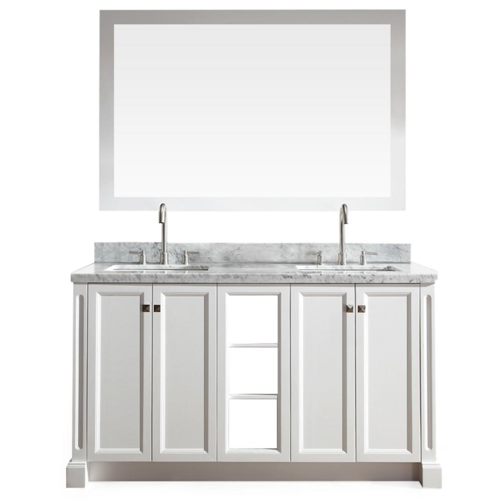 Westwood 61 in. Bath Vanity in White with Marble Vanity Top