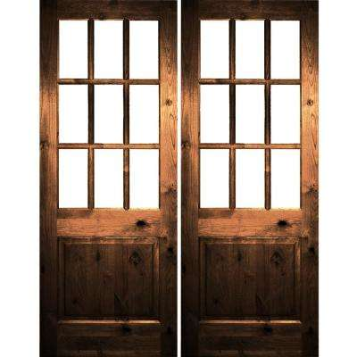 72 in  x 96 in  Craftsman Knotty Alder Wood Clear 9-Lite provincial stain  Right Active Double Prehung Front Door