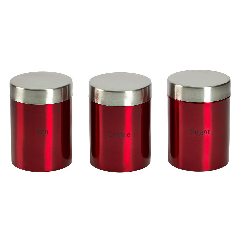 Basic Essentials 3 Piece Stainless Steel Canister Set In Red Ttu U8627 Ec The Home Depot
