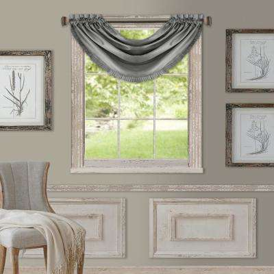 Elrene Versailles 52 in. W x 36 in. L Polyester Single Blackout Window Valance in Gray