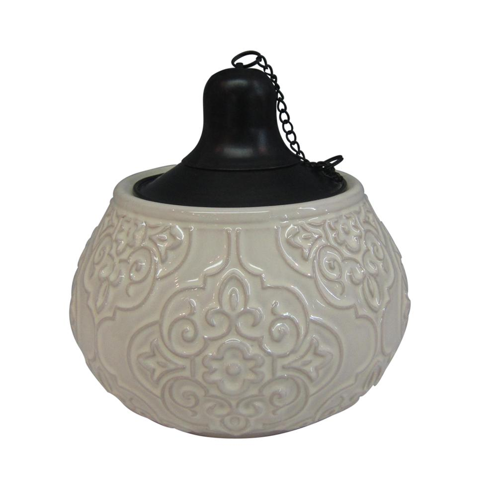 Ceramic Mini Table Top Torch With White Glaze 2