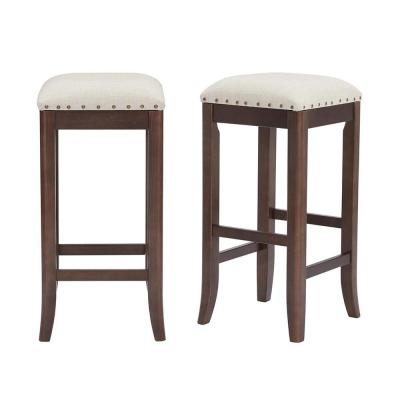 Ruby Hill Chocolate Wood Upholstered Backless Bar Stool with Biscuit Beige Seat (Set of 2) (14.4 in. W x 30 in. H)