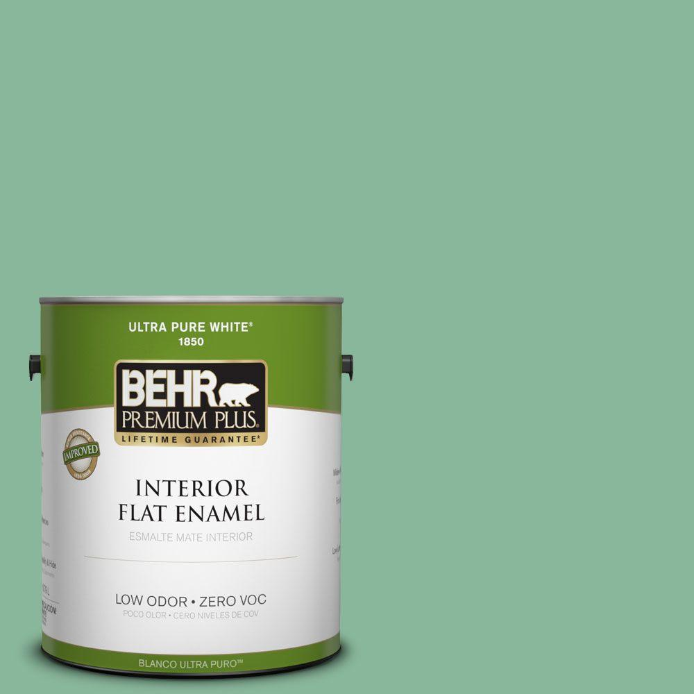 BEHR Premium Plus 1-gal. #470D-4 Garden View Zero VOC Flat Enamel Interior Paint-DISCONTINUED