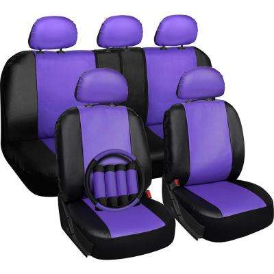 Polyurethane Seat Covers 21.5 in. L x 21 in. W x 31 in. H Seat Cover Set Purple and Black (17-Piece)
