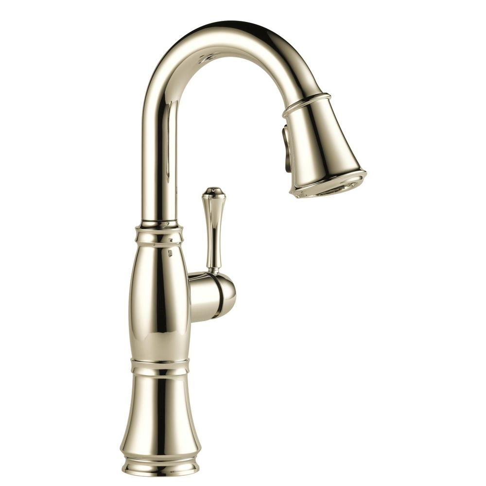 Cassidy Single-Handle Pull-Down Sprayer Bar Faucet in Polished Nickel
