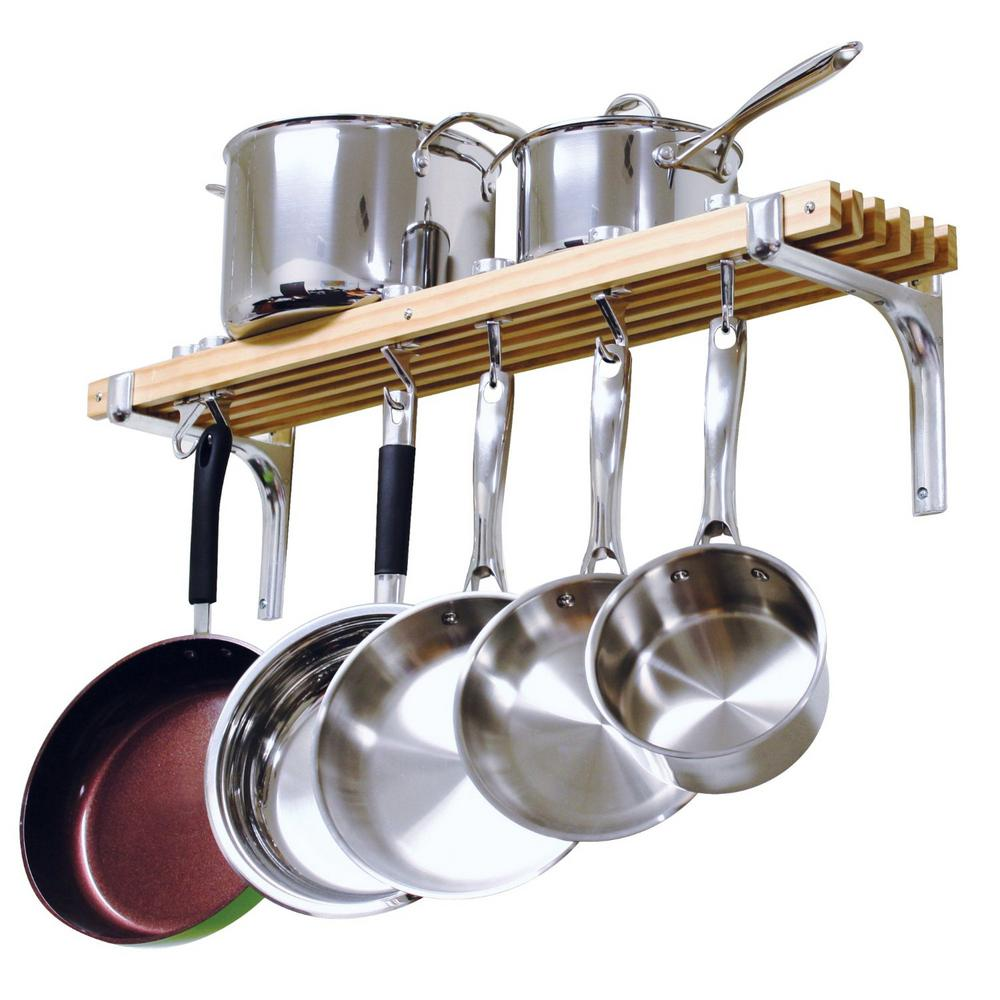 Kitchen Organizer Rack Part - 35: Wooden Wall Mounted Pot Rack