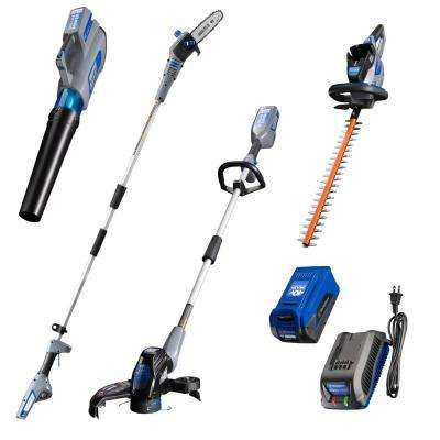 40V String Trimmer, Hedge Trimmer, Leaf Blower, and Pole Saw with 40V 2.0 Ah Battery and Battery Charger