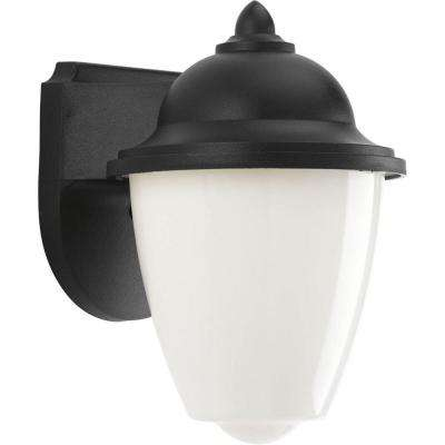 1-Light Black Outdoor Integrated LED Wall Mount Lantern