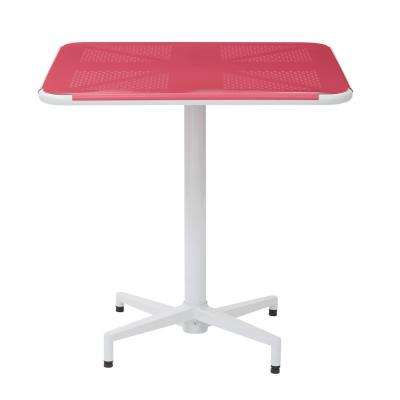 Albany 30 in. Pastel Pink/White Square Folding Table