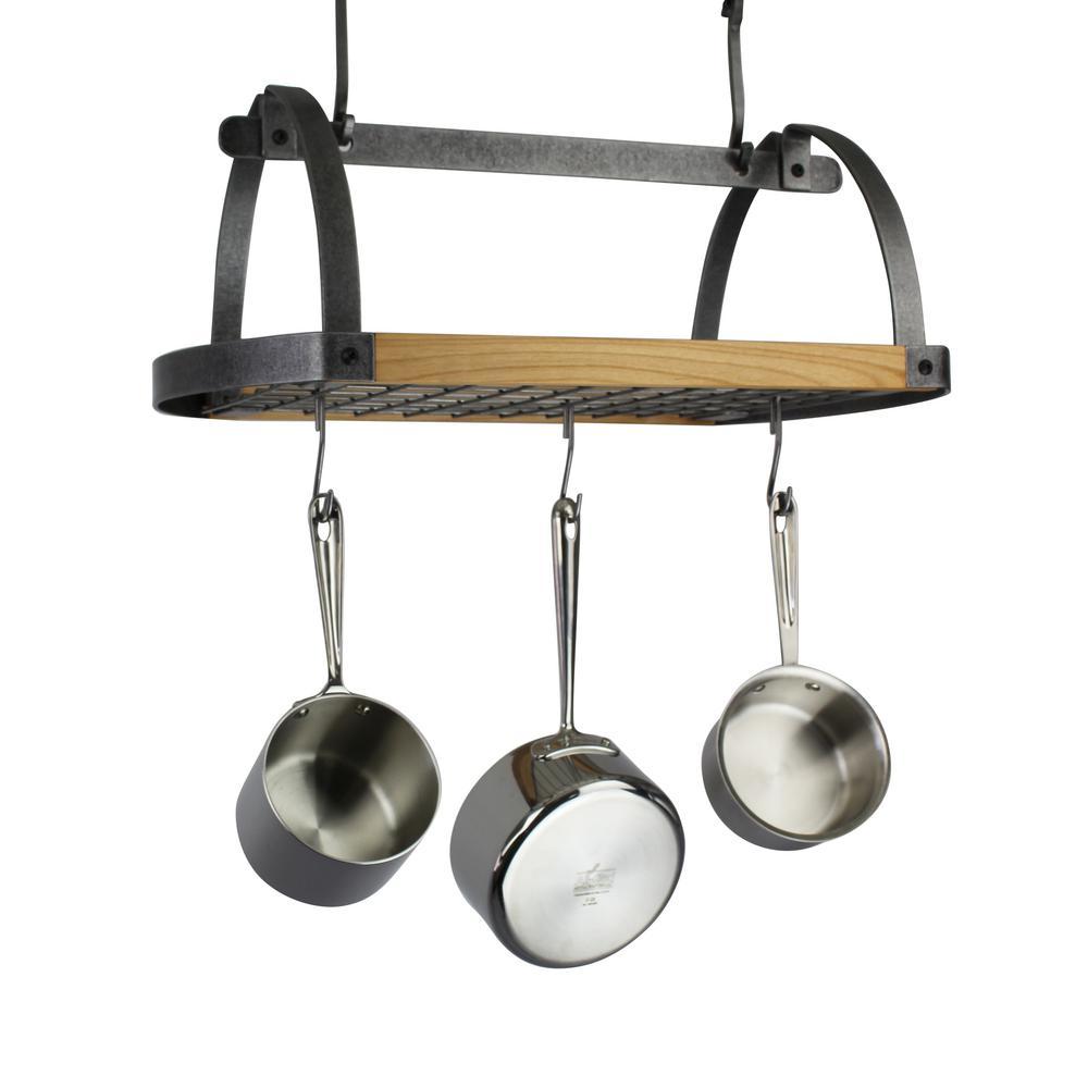 Enclume Handcrafted Decor Oval Ceiling Hammered Steel Pot Rack with Alder
