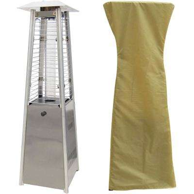 9500 BTU Stainless Steel Mini Pyramid Tabletop Propane Patio Heater with Weather-Protective Cover