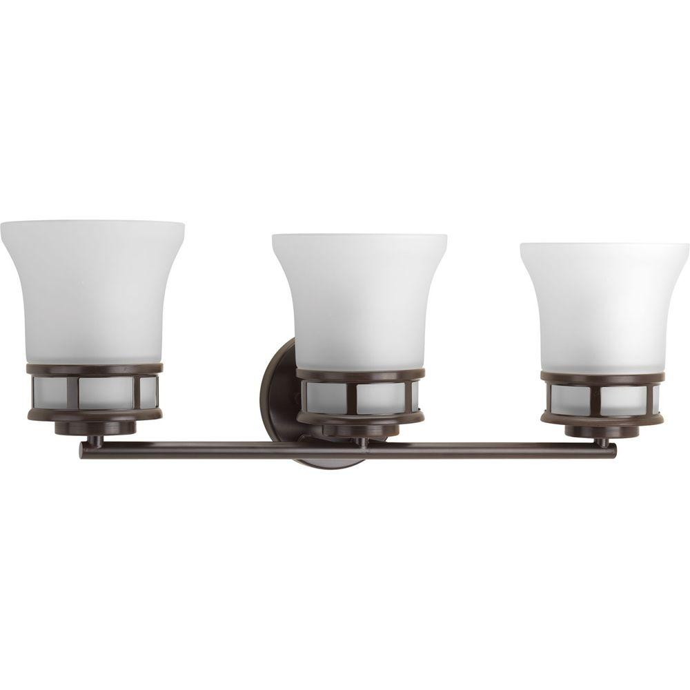 Cascadia Collection 3-Light Antique Bronze Vanity Light with Etched Glass Shades