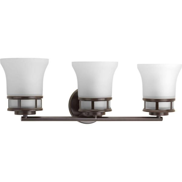 Cascadia Collection 3-Light Antique Bronze Bathroom Vanity Light with Glass Shades