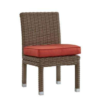 Camari Mocha Armless Wicker Outdoor Dining Chair with Red Cushion (Set of 2)