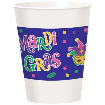 3.8 in. x 4.75 in. Plastic Mardi Gras 16 oz. Cups (2-Pack, 25-Count)