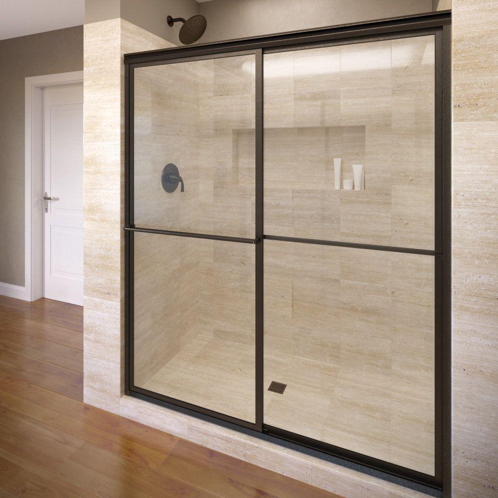 Basco Deluxe 40 In X 68 In Framed Sliding Shower Door In Oil