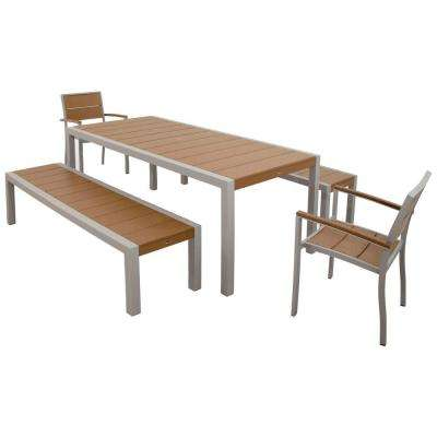 Surf City Textured Silver 5-Piece Bench Plastic Outdoor Patio Dining Set with Tree House Slats